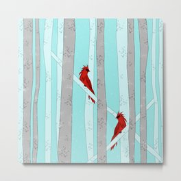 Holiday Forest Cardinals Design Metal Print
