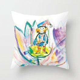 Dwarf in a flower Throw Pillow