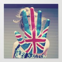 british flag Canvas Prints featuring british flag love by Starr Shaver
