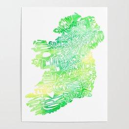 Typographic Ireland - Green Watercolor map Poster