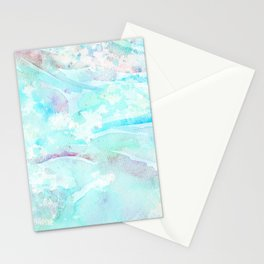 Pastel blue pink hand painted watercolor pattern Stationery Cards