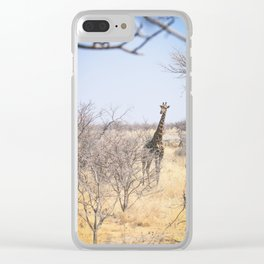 curious giraffe of namibia Clear iPhone Case