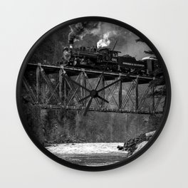 Steam Engine on a trestle river black and white photograph / art photography  Wall Clock