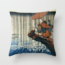Ukiyo-e, Utagawa Kuniyoshi, Priest Nichiren praying under the storm Throw Pillow