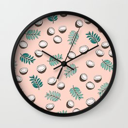 Little coconut garden summer surf palm leaves pink Wall Clock