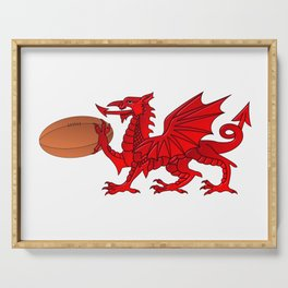 Welsh Dragon With a Rugby Ball Serving Tray
