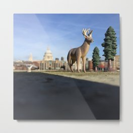 The Stag + The Thames Metal Print