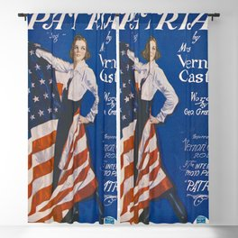 Woman with American Flag Patriotic Blackout Curtain