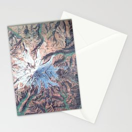 Vintage Mount Rainier Topographical Relief Map Washington Stationery Cards