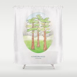 Haruki Murakami's Norwegian Wood // Illustration of a Forest and Mountains in Pencil Shower Curtain