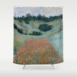 "Claude Monet ""Poppy Field in a Hollow near Giverny"" Shower Curtain"