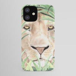 Lion staring through savanna grass, watercolor art.  iPhone Case