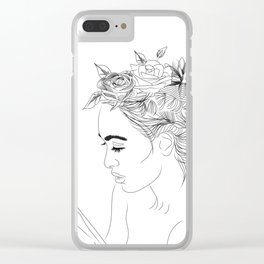Minimal Drawing of Woman with Flowers in Hair - Black and White Clear iPhone Case
