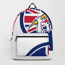 British Electrician Union Jack Flag icon Backpack