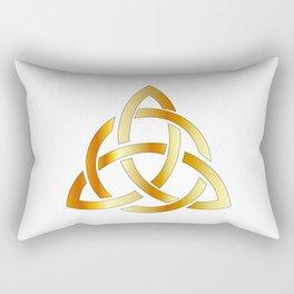 Golden triquetra celtic cross-3 point Celtic Trinity knot Rectangular Pillow