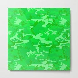 Bright Colorful Green Camo Pattern Metal Print