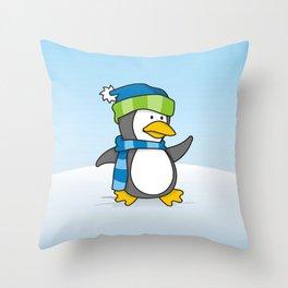 Little penguin walking on snow Throw Pillow