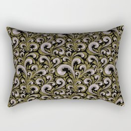 Intricate Victorian Scroll Pattern With Deep Purples and Greens Rectangular Pillow