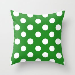 Polka Dots (White/Forest Green) Throw Pillow