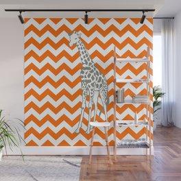 Tangerine Safari Chevron with Pop Art Giraffe Wall Mural