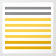 Stripes Gradient - Yellow Art Print