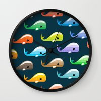 moby dick Wall Clocks featuring Moby by Halamo