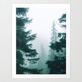 Mount Rainier Fog Art Print