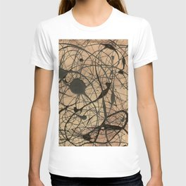 Pollock Inspired Abstract Black On Beige Corbin Art Contemporary Neutral Colors T-shirt