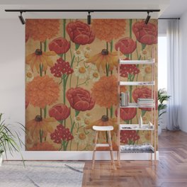 Kitschy Sunflower and Peony Bouquet in Autumn Palette Wall Mural
