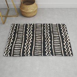 African Vintage Mali Mud Cloth Print Rug