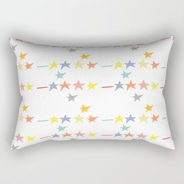 Multicolored doodle little falling stars and dashes on white pattern Rectangular Pillow