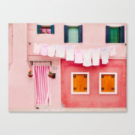 Laundry Day in Burano Italy Canvas Print
