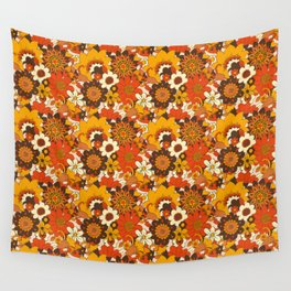 Retro 70s Flower Power, Floral, Orange Brown Yellow Psychedelic Pattern Wall Tapestry
