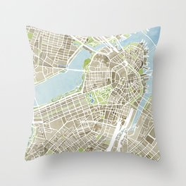Boston Sepia Watercolor Map Throw Pillow
