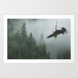 Battle for the Cedars - Bald Eagles Wildlife Scene Art Print