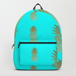Pineapple blue and gold pattern Backpack