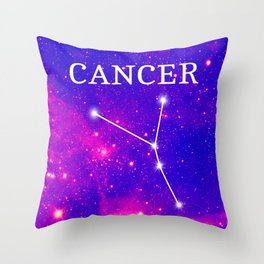 Starry Cancer Constellation Throw Pillow