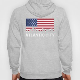 Atlantic City NJ American Flag Skyline Hoody