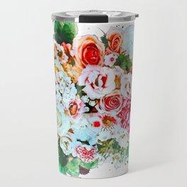 Rose Flower Bouquet Watercolor Travel Mug