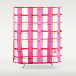 Pink Plaid Party Shower Curtain