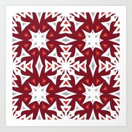Snowflakes on Red Art Print