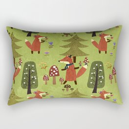 Happy foxes in the forest - Cute Fox Pattern Rectangular Pillow