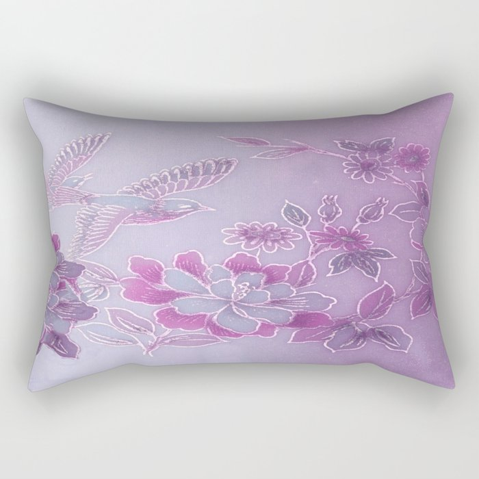 Vintage Birds And Flowers – Lavender and Purple Rectangular Pillow