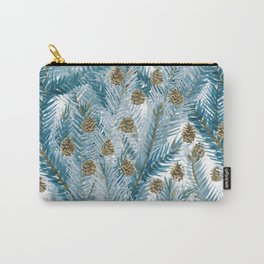 Modern brown blue watercolor pinecone tree leaves Carry-All Pouch