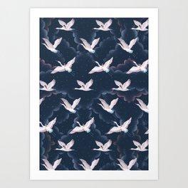 Crane Ladies Night Pattern Art Print