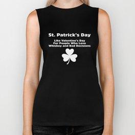 St. Patricks Day Is Like Valentines Clover Biker Tank