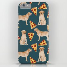 Yellow Labrador pizza cheesy slice of pizza food trendy pet gifts for yellow lab owners dog breed Slim Case iPhone 6 Plus