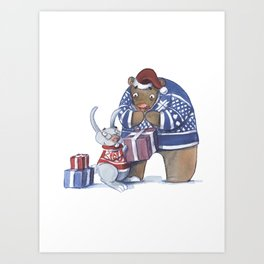 A gift from the rabbit Art Print