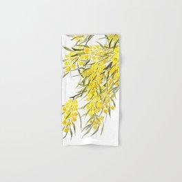 Godlen wattle flower watercolor Hand & Bath Towel