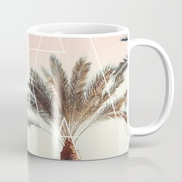 Modern tropical palm tree sunset pink blue beach photography white geometric triangles Coffee Mug
